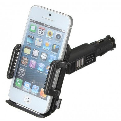 Dual USB Car Cigarette Lighter PhonE-mount Holder Adjustable Rotation