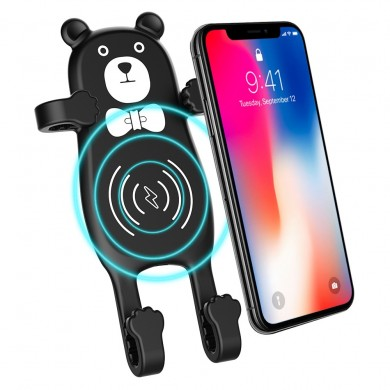 MANMOO BEAR X8 Car QI Air Vent Wireless Phone Charger Holder Silicon Gel Mount for iPhone XS