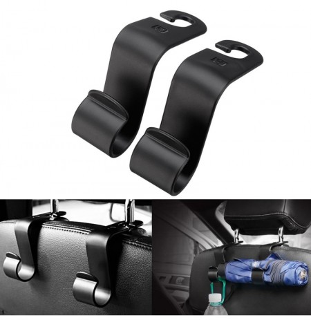 Pair Car Seat Back Headrest Hook Storage Hanger Holder Organizer Universal