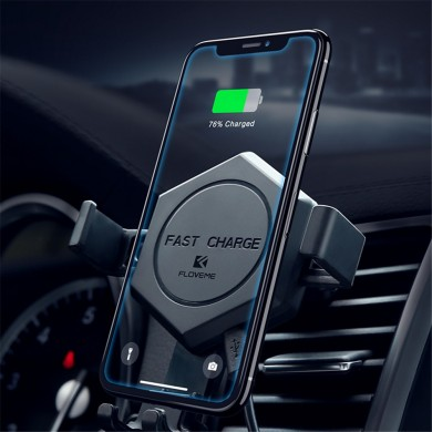 FLOVEME 10W Qi Wireless Charger Car Phone Holder Gravity Auto Lock Stand for iPhone Xs X /Xiaomi