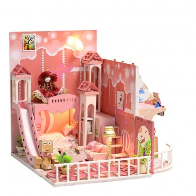 iiecreate k-029 Dream Childhood DIY Doll House With Furniture Light Cover Gift Toy