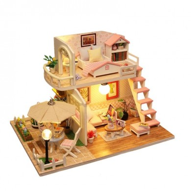 Handcraft DIY Doll House Time Cafe Toy Wooden Miniature Furniture LED Light Gift