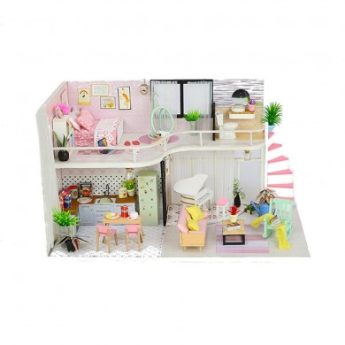 Hoomeda Handmake DIY Wood Dollhouse Miniature Doll House With Dust Cover