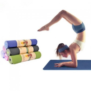 TPE Bicolor 6mm Yoga Mat Outdooors Fitness Sport Anti Skid Pad Odorless Body Building Yoga Mat