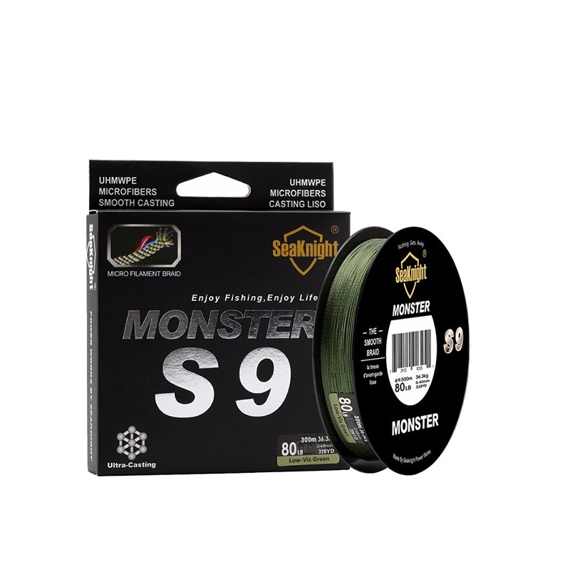 SeaKnight S9 300M 9 Strands Braided Wire 20-100LB Fishing Line 9.1-45.4KG Green Smooth PE Line (Size: 3.0) фото