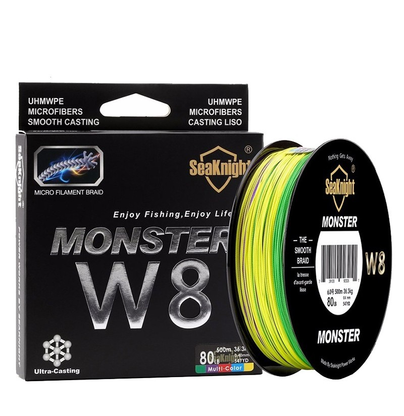 SeaKnight Monster W8 500M 8 Strands Fishing Line Multi-Colors 20-100LB Salt Water Braided Wire (Size: 2.0) фото