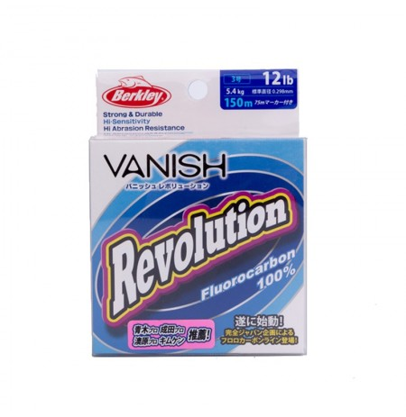 Berkley VANISH Revolution Series 150m 12LB Clear Color Fluorocarbon Износостойкий Рыбалка Line