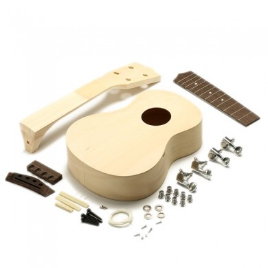 DIY Unfinished 21 Inch Maple Wood Ukulele With Body Neck String Tunning Pegs