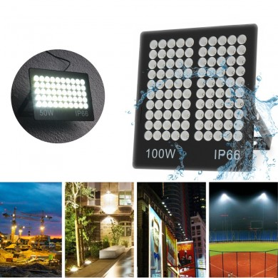 50W 100W White Light Waterproof IP66 Ultra Thin LED Flood Light Landscape Garden Lamp AC22V