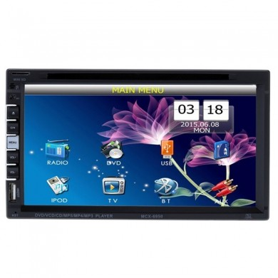 6.9Inch HD 2 Din Car Bluetooth Hands-free DVD Player Touch Screen Rear view camera With Romote Control