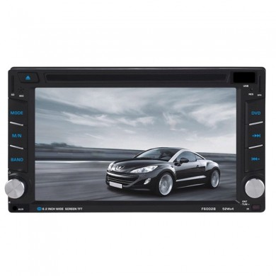 F6002B 6.2 inch 2 DIN Car DVD Stereo MP3 Player Bluetooth Touch TFT Screen AUX IN SD MMC Card Reader