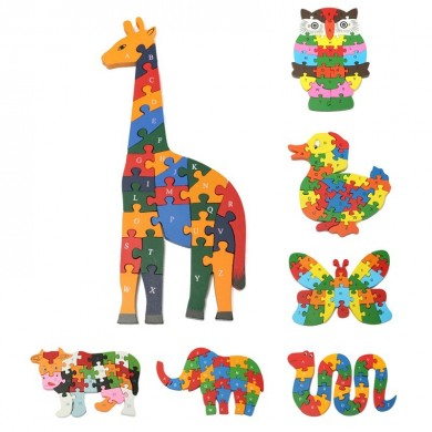 Wooden Animal Shape Puzzle Blocks 26 Alphabet Number Children's Educational Toys