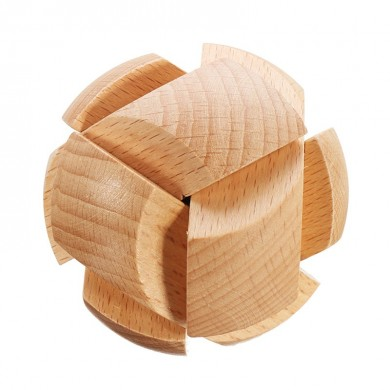 Kong Ming Lock Toys Children Kids Assembling Challenge 3D Puzzle Cube IQ Brain Wooden Toy