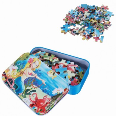 60pcs DIY Puzzle Mermaid Cartoon 3D Jigsaw Com Lata Caixa Crianças Crianças Educational Gift Collection Toy