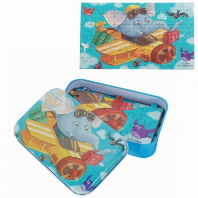 60pcs DIY Puzzle Elefante Pilot Plane Cartoon Jigsaw com lata Caixa Brinquedos educativos Kids Children Educational