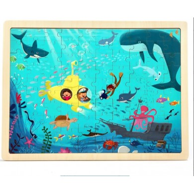 100PCS DIY Jigsaw Puzzle Undersea World 23CM Wooden Educational Developmental Learning Training Toy