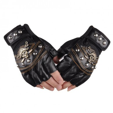 BIKIGHT Skull Leather Skeleton Motorcycle Gloves Half Fingers Pirate Rivet Punk Cycling Bike Gloves