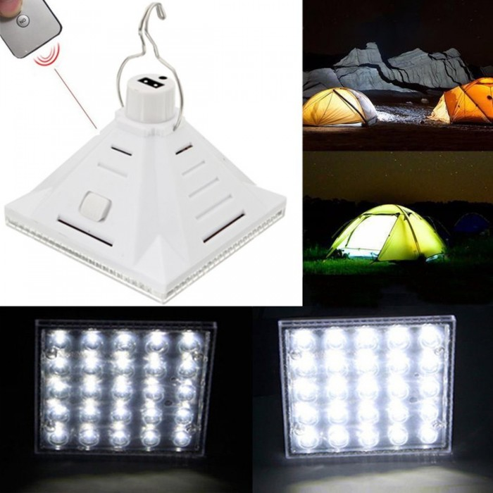 25LED White Solar Powered Camping Lamp Remote Control Hanging Outdoor Tent  Light