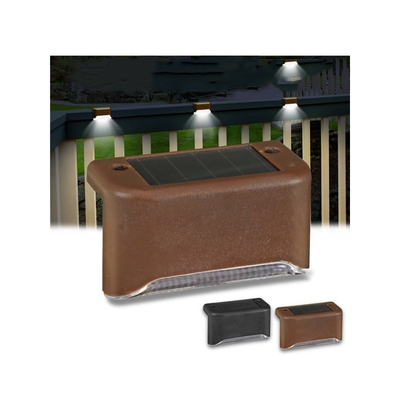 3 LED Solar Lights Durable Fence Lamp for Outdoor Garden Stairs (Color: Brown) фото