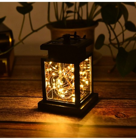 Solar Hanging 30 LED Warm White Copper Wire String Light Lantern Waterproof Outdoor Garden Decor