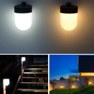 LUSTREON Solar 3 LED Pared Lámpara al aire libre Impermeable Luz de camino de jardín valla Doble temperatura de color