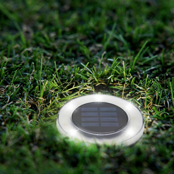 White Outdoor Pathway Lawn Solar Power Underground Light 8 LED Buried Lamp