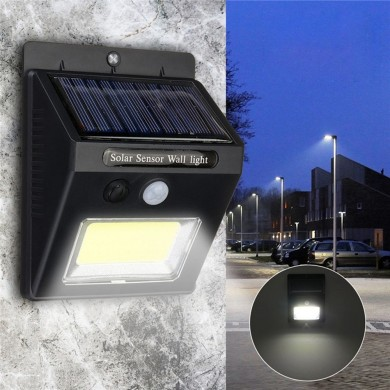 Solar Power Super Bright COB 24 LED PIR Motion Sensor Lámpara de pared al aire libre Inalámbrico Impermeable Lámpara