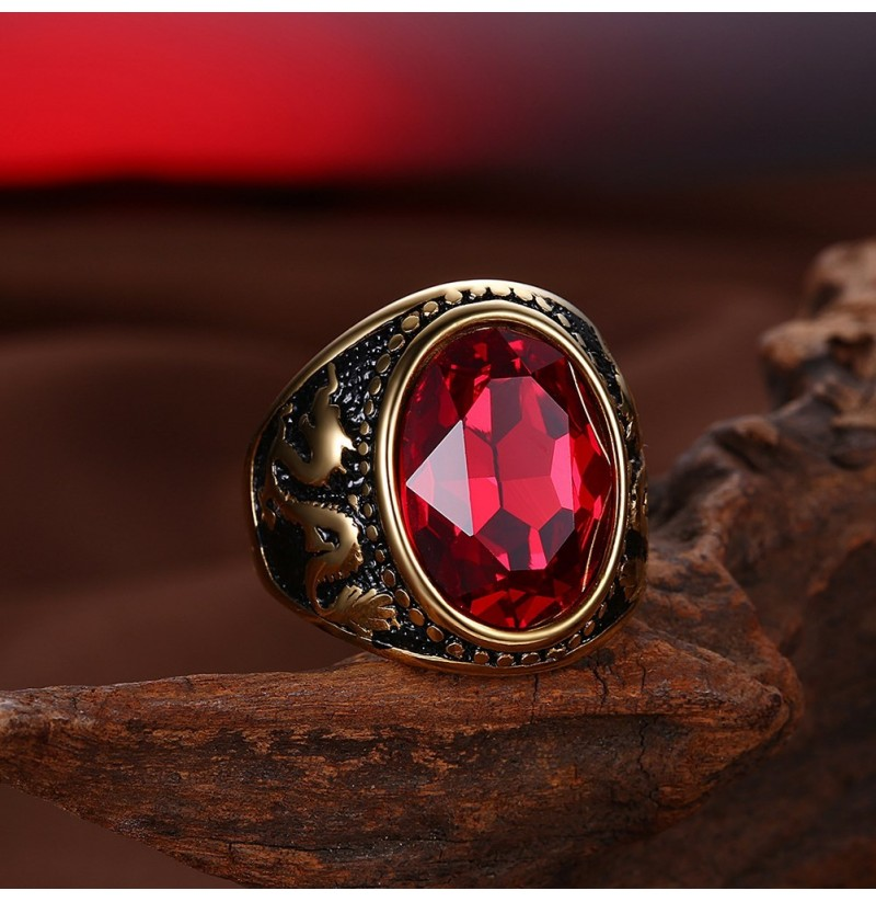 Trendy Red Glass Titanium Steel Ring Gold Plated Ball Ring ...