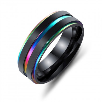 7mm Black Gold Double Plating Finger Rings Titanium Steel Ring for Men