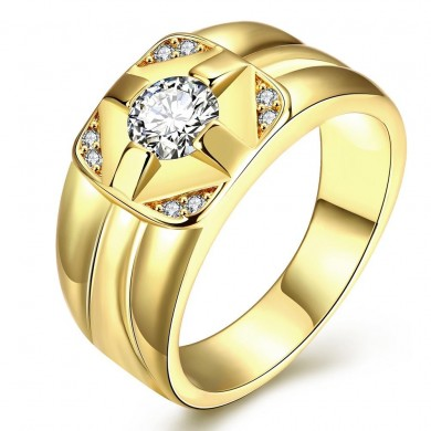 Fashion K Gold Plated Zircon Brass Finger Ring for Men