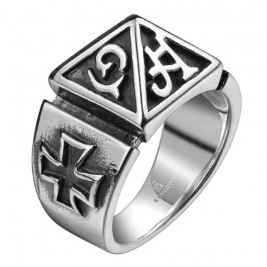 Vintage Cross Men's Ring Mystery Words Titanium Steel