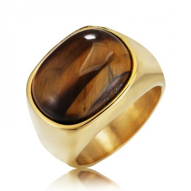 REZEX Tiger Eye Stone Finger Rings Men's Titanium Steel Ring