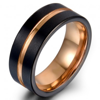 Classic 8mm Tungsten Carbide Ring Rose Gold Black Colorfast