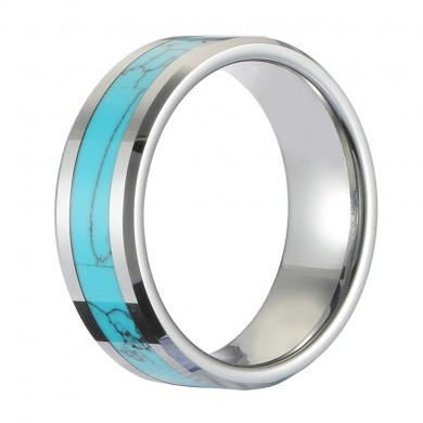 Classic 8mm Hartmetall Ring Blau Türkis
