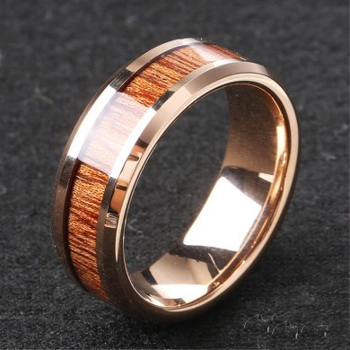 Classic 8mm Tungsten Carbide Ring Wood High Hardness Tungste