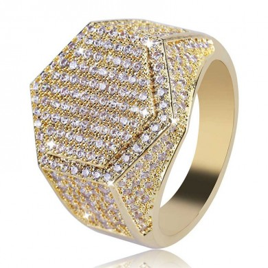 Gold Hip Hop Hexagon Fingerring Micro Zirkon Edelstein