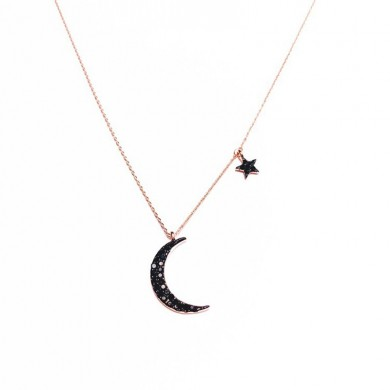 Elegant Pendant Necklace Moon Star Asymmetric Chain Charm