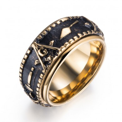 Ethnic Masonic Pattern Stainless Steel Finger Rings For Men