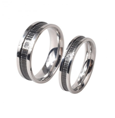 Trendy Stainless Steel Couple Rings Fashion Rhinestone Rings