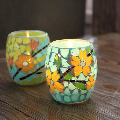Handicraft Mosaic Glass Pastorale Flowers Candle Varanda Candle Holder Candelabra Home Decor Gift