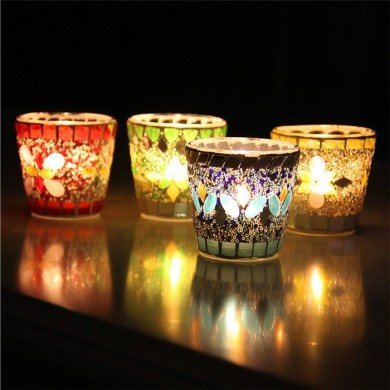 Handicraft Mosaic Glass Beads Sequin Candle Varanda Candle Holder Candelabra Home Decor Gift