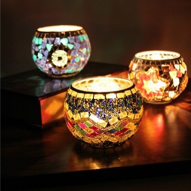 Handicraft Mosaic Glass Candle Varanda Candle Holder Candelabra Home Wedding Decor Gift