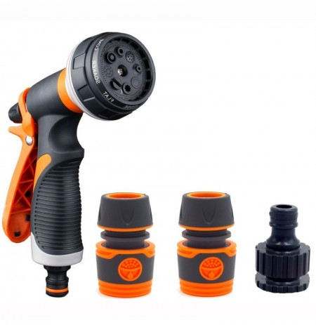 Garden Irrigation Water Gun Kit with 3 Connector 8 Pattern Sprayer Nozzle House Cleaning Sprinkler