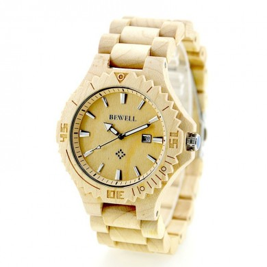 Bewell ZS-W023C Fashion Casual Sandalwood Date Water Resistant Man Japan Quartz Watch