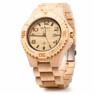 Bewell ZS-W023B Male Wooden Quartz Watch Auto Date Display Casual Wristwatch
