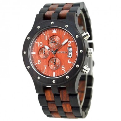 BEWELL 109D Fashion Sport Men Watch Casual Quartz Watch Calendar Wooden Wrist Watch