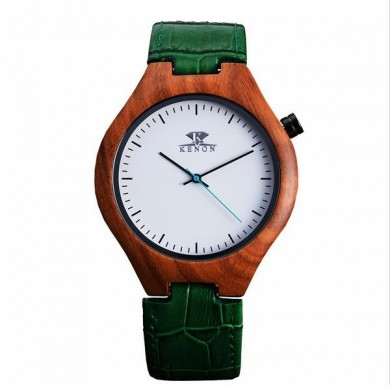 KENON KWWT-71 Fashion Wooden Case Men Quartz Watch Leather Strap Wrist Watch