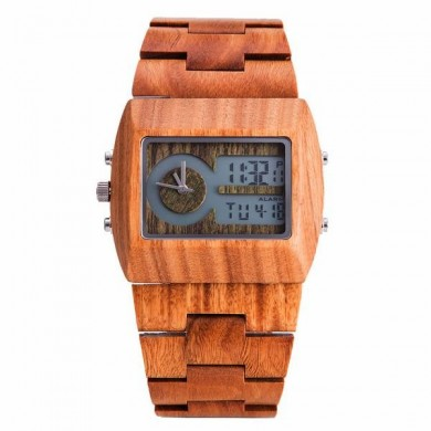 KENON KWWT-64 Fashion Wooden Men Quartz Watch Rectangle Case Wrist Watch