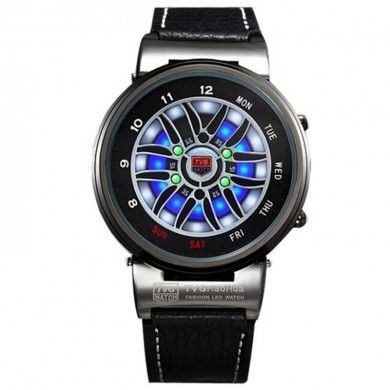 TVG X6 Creative Design Car Wheel LED 3D Dials Leather Strap Alloy Case Outdoor Sports Watch