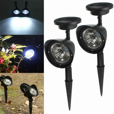 2pcs Garden Solar Power 4 White LED Spotlights Outdoor Lawn Courtyard Lamps